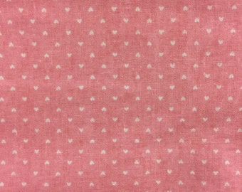 White Hearts on Pale Pink fabric