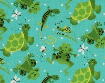 Fabric Traditions G is for Green fabric - #4752E - Frogs, turtles, bees and grasshoppers on a teal background