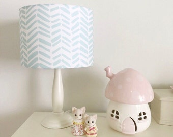 Mint & White Drum Lampshade