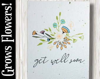"""GROWS WILDFLOWERS! - """"Get well soon"""" - Plant the Card - 100% recycled - #GW006"""