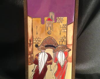 Hand Painted Tile Israeli Scene/Hand Painted tiles by Touch Wood Ltd Caesarea/Caesarea Glazed Tiles