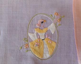 Set of 2 Applique Tea Towels, Crinoline Ladies, with Embroidery, Linen, just right for spring.