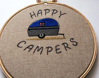 """Embroidered caravan with """"Happy Campers"""" on in hoop"""