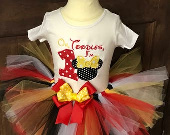 Oh toodles I'm one tutu outfit , Minnie Mouse Birthday outfit, First Birthday tutu, Minnie Mouse First Birthday