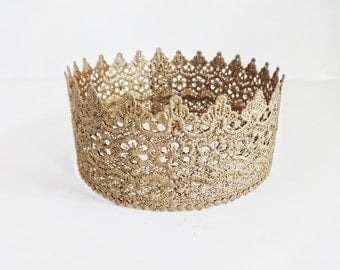Ready to Ship, Adult Lace Crown Halo Tiara Crown Metallic Antique Gold, Princess Crown, Queen Crown