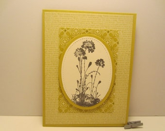 Stitched Oval Flowers Blank Card