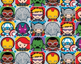 Marvel Kawaii Character Tiles Fabric - Blue (Sold by the half yard)