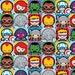 Marvel Kawaii Character Tiles Fabric - Blue **PRE-ORDER: Ships July 2017** (Sold by the half yard)