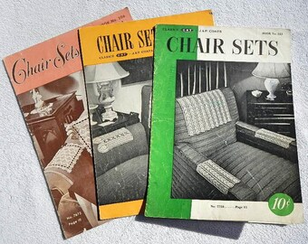 Vintage Chair Sets Books 223 206 and 242 Coats and Clark