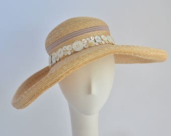 "770- Straw Sun ""Opal"" Hat with Pearl Buttons"