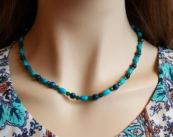 Blue Green Beaded Necklace Multi Stone Beaded Necklace