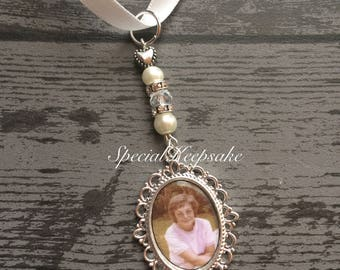 Personalised Photo Bridal Bouquet Memorial Memory Charm Wedding Day Unique Wedding Favour Bride Groom Mr & Mrs Loved One Angel