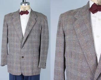 Vintage 1950s Men's Sport Coat   Taupe Wool Jacket with Blue, Green, & Cream Fleck   Size 44