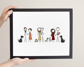 Custom Large Group Stick Figure Family Portrait - Family Drawing/Family Illustration/Family Photo
