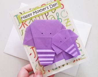 Purple Mother's Day Card: Origami Elephant Card - Expecting Mom Mothers Day Card - Happy Mother's Day - Expectant Mother - New Mom - Animal