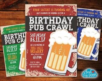 Birthday Pub Crawl Invitation-Bar Crawl-PRINTABLE invitation-Beer Birthday- 21st Birthday, 30th Birthday, 40th Birthday Party -Guy Birthday
