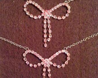 Pink rhinestone bow anklet