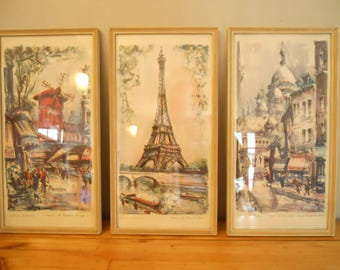 Set of 3 Vintage Framed Art Prints 1960's PARIS by Marius Girard.  Sacre Coeur Montmartre/ Eiffel Tower/ Moulin Rouge.