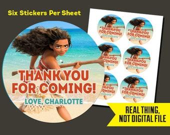 Moana Stickers   Moana Birthday - Moana Thank You Stickers