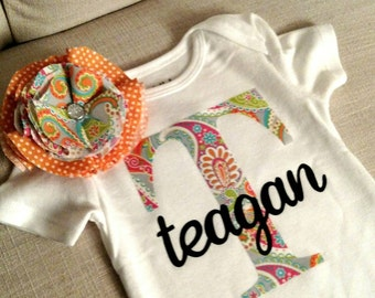Paisley Initial Name Bodysuit with matching bow