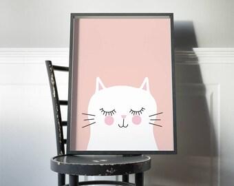 Kitty cat in pink kids art print // girls room art print // kids wall art // baby girl print // cute white cat illustration for girls room
