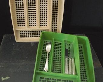 Silverware Flatwear Drawer Storage Utensils - Deka Plastics Green or Golden - Retro Kitchen - Office Craft Artist Organizer