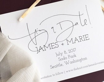 Custom Save the Dates, Wedding Announcement, Seattle Save the Date, Save the Date Calligraphy