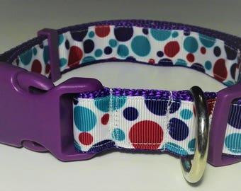 Adjustable Lunares Dog Collar - Purple