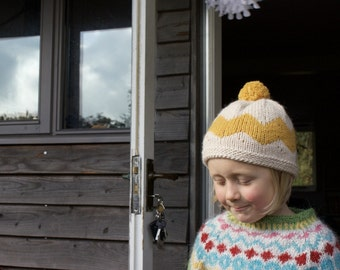 Hand Knitted Child Hat. The Woodstock Hat
