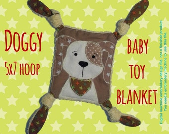 DOGGY Baby Toy Blanket - 5x7 hoop - ITH - machine embroidery file - digital download