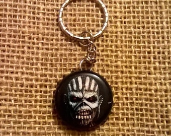 Upcycled Trooper Ale bottle cap keyring - Eddie the Head from Iron Maiden