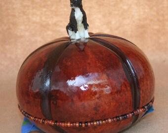Basenji round cremation gourd urn.