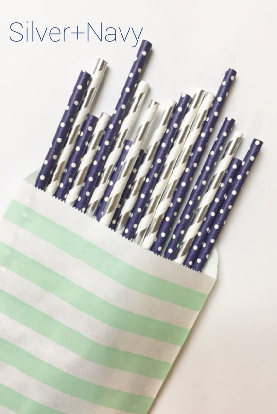 Silver+Navy party straws//papar straws, party decorations, party supplies, wedding, bachelorette party, birthday party, beverage deco