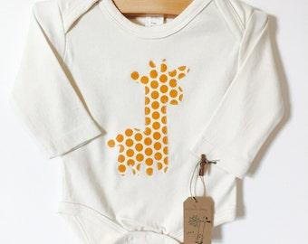 Giraffe Organic Baby Clothes, Gender Neutral Baby, Boho Baby Bodysuit, Giraffe