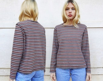 MOVING SALE Vintage 80s White Stag Tan White Black + Brown Earth Tone Small Horizontal Striped Long Sleeve Cotton Shirt Blouse L