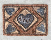 True Hearts. Full size PAPER PATTERN hooked rug - Winter Cottage