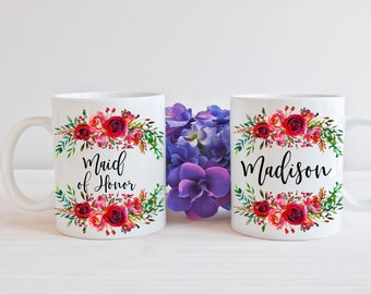 Maid of Honor Mug, Maid of Honor Gift, Maid of Honor, Bridesmaids Mugs, Bridesmaid Gift, Bridal Party Gift, Wedding Party Gift, personalized