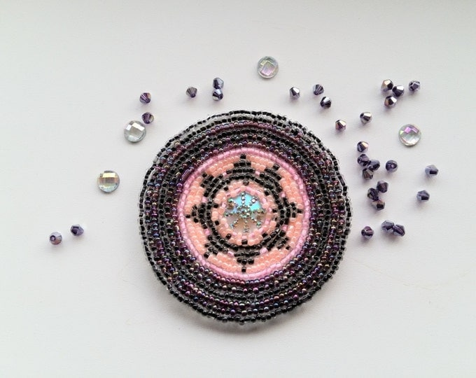 Mandala, ethnic accessories, bag patch, belt patch, beaded rosette, gul-i-peron, embroidered tribal disk, pink bellydance costume patch