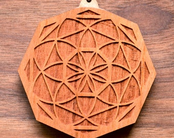 Seed of Life Octahedron Pendant - Natural Hardwood - Laser Cut Engraved Wood Wooden Gemstone Crystal Sacred Geometry - LT10026