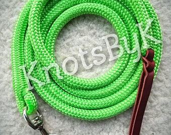 Yacht Rope Lead with Leather Popper