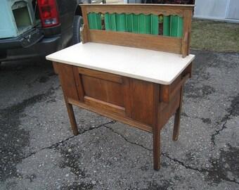 Old English Oak Marble Top Tile Back Splash Wash Stand