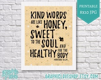 Printable 8x10 Kind Words are Sweet Like Honey Scripture Art | High Resolution Digital JPG, Instant Download