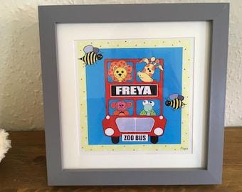 London zoo bus personalised nursery print