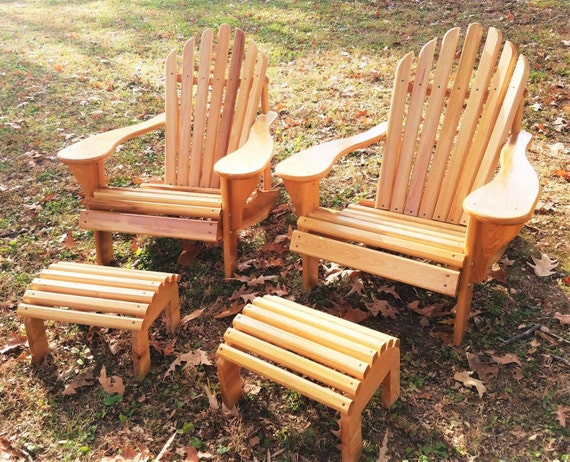 Classic Adirondack Chair With Stool Cypress Adirondack Chair