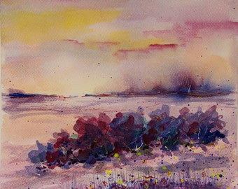 Sunset painting Landscape painting Original watercolor painting Original art Landscape watercolor painting Nature art original painting