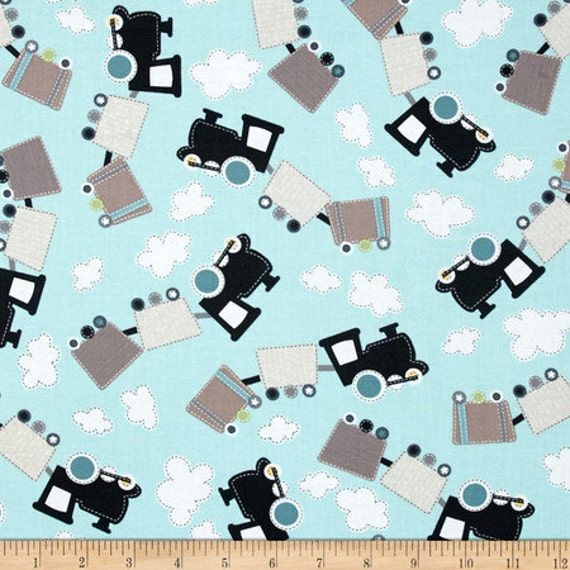 All aboard train allover trains track cotton fabric from all for Kids train fabric