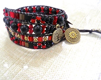 Handmade red and black beaded 4 wrap bracelet with charms