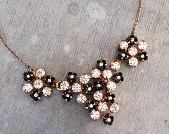Vintage rhinestone necklace, vintage crystal necklace, vintage bridal, black and white necklace, Art Deco necklace, bridal jewellery