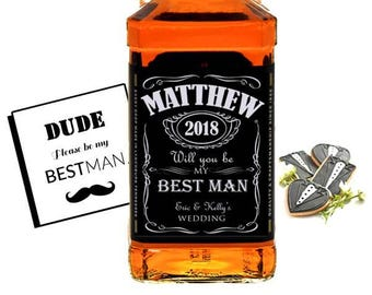 Set of 3 Will you be my Best Man Whisky Printed Labels - Alcohol Labels - Groomsmen Gifts - Wedding Favors - Personalized Whiskey Label