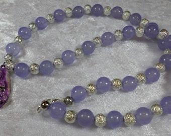 short chain, jade LILACS, Namaste Buddha pendant, handmade